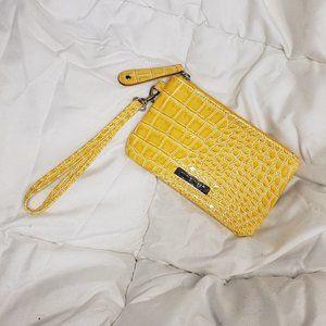 Nine West Yellow Faux Snake Skin Wristlet